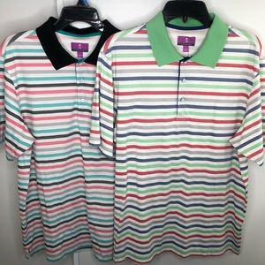 Golf polo shirt lot of 2 colorful stripes size L